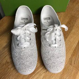 Kate Spade White Glitter Keds Sneakers